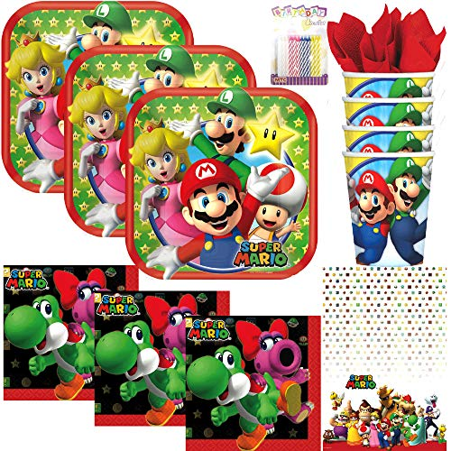 Super Mario Brothers Party Supplies Pack Serves 16: Dessert Plates, Beverage Napkins, Cups, Table Cover and Birthday Candles