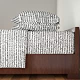 Roostery Text 4pc Sheet Set Ancient Parchment - Black & White by Peacoquettedesigns Queen Sheet Set made with