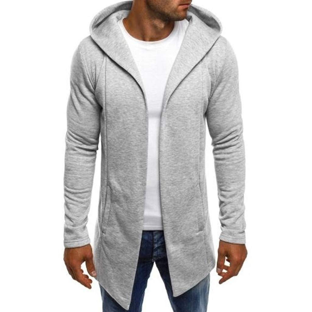 Forthery-Men Hoodies Long Trench Coat Casual Cardigan Jacket Outwear Autumn Open Front Sweater Cardigan