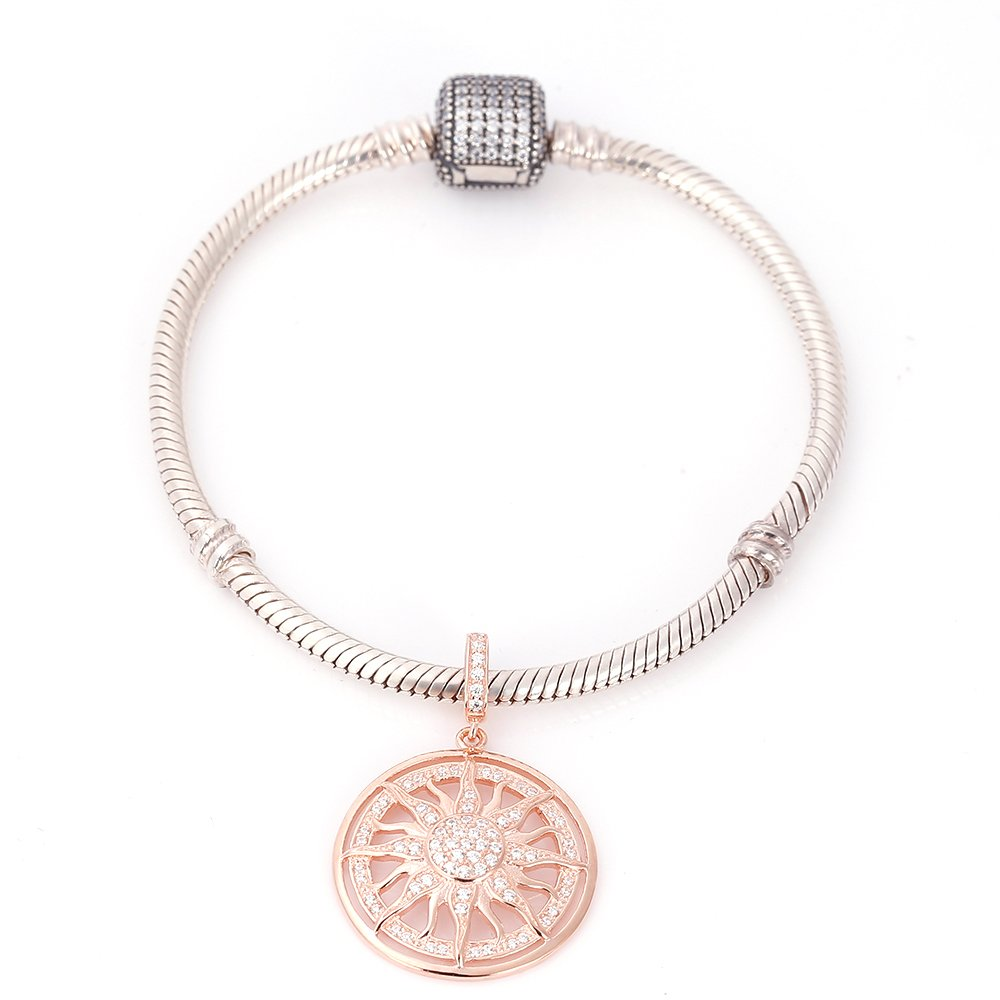 Rose Gold Sun Charms 925 Sterling Silver Dangle Charms with Clear CZ for 3mm Snake Chain Bracelet by Paiyuan charms (Image #3)