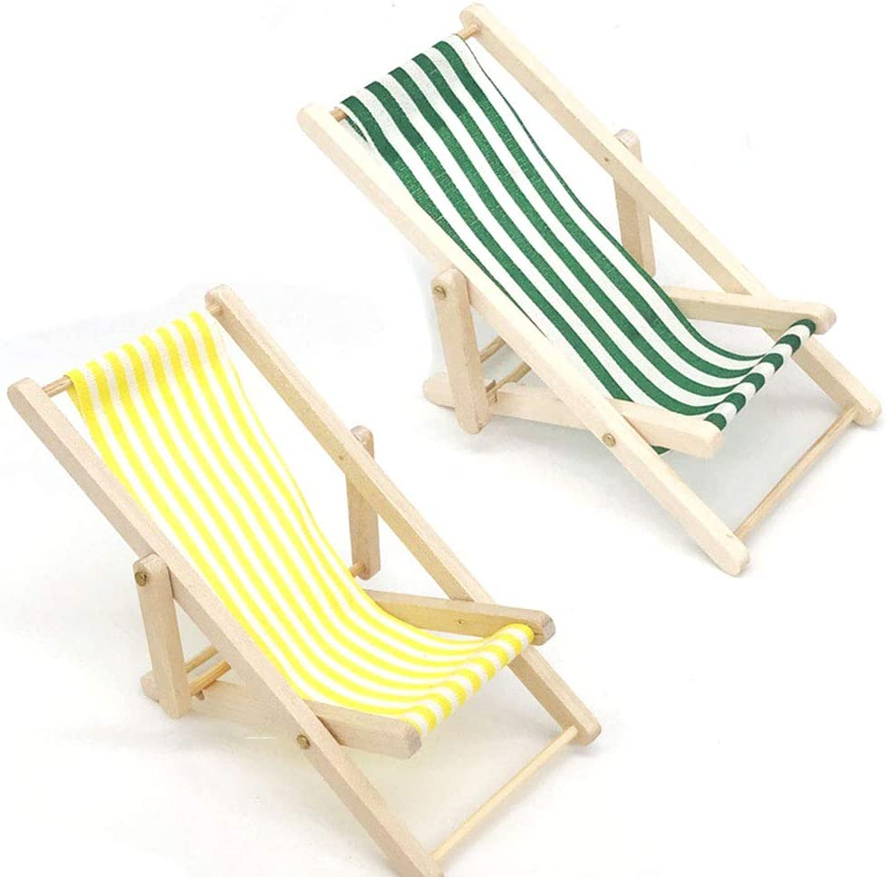2 Pieces 1:12 Doll Mini Beach Chair Chaise Longue Doll Foldable House Model Toys Green Striped/Yellow Deck Chair for Flexible Puppets, Indoor Outdoor Beach/Lawn/Deck Chair Doll'house Garden Accessory