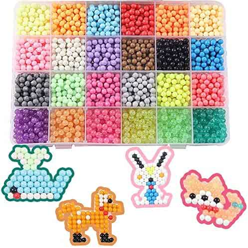 FanBeads Fuse Beads Refill, 24 Colors Water Spray Beads Set Compatible with Aquabeads and Beados Art Crafts Toys for Kids Over 3000 Classic and Jewel Beads