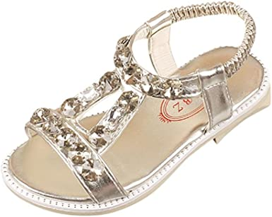 Gold Summer Flip Flops Kids Girls Sandals Flat Youth Casual Shoes Size 9-4