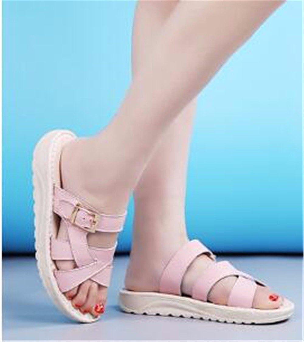 GAOQIANGFENG Damen - Sommer - Outdoor - - - Leder - Slipper mit Flachem Boden. Rosa 80d947
