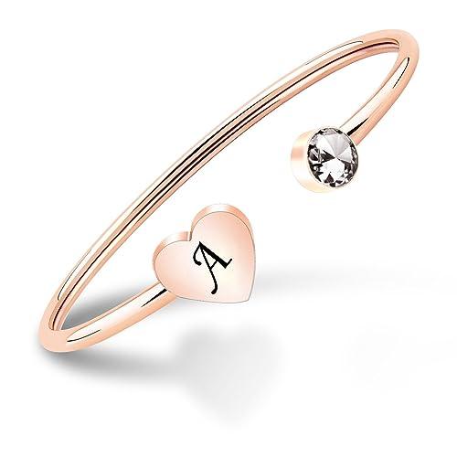 0ad76511a55a6 PLITI Rose Gold Single Initial Alphabet Bangle Letter Cuff Bracelet for  Women