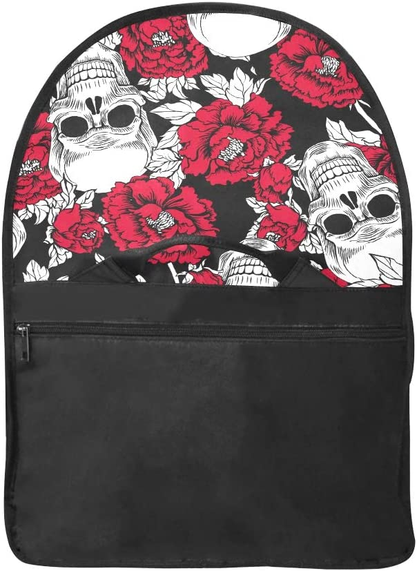 Womens Laptop Bag Skull Flowers Peony Multi-Functional Womans Crossbody Bag Fit for 15 Inch Computer Notebook MacBook