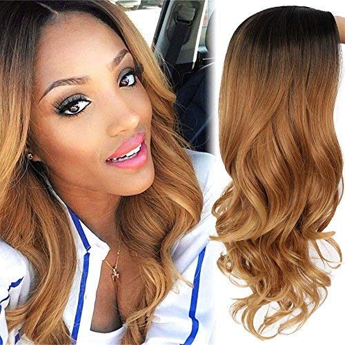 AISI HAIR Long Brown Ombre Wavy Wig Two