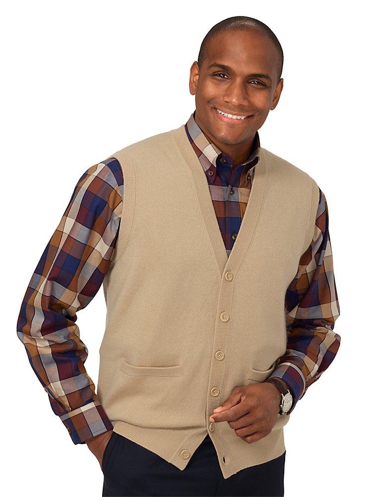 Paul Fredrick Men's Wool  Cashmere Cardigan Vest Tan 2xl Tall