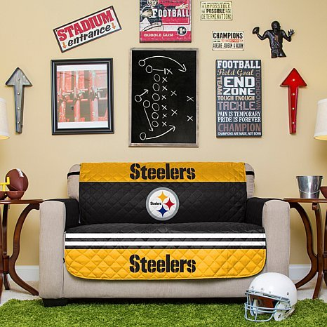 Pegasus Home Fashions NFL Pittsburgh Steelers Love Seat Reversible Furniture Protector with Elastic Straps, 75-inches by 88-inches by Pegasus Home Fashions