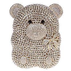 Fawziya Bear Shape Cute Purses For Womens Evening Bag Hard Case-Gold