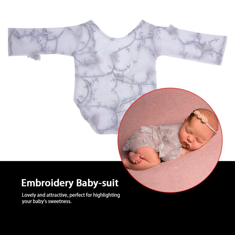 Dacron Baby Photo Props Embroidery Petal Baby-Suit Decorative Lace Clothes Bodysuit Outfit Newborn Costume Photography Props for Kids Purple