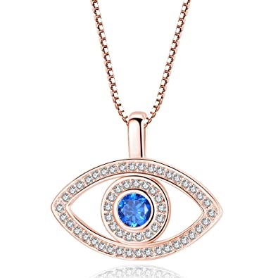 Amazon.com  CHOA Fashion Evil Eye Necklace - Gold Silver Ocean Heart Blue  CZ Evil Eye Pendant Necklace for Women (Gold)  Jewelry 4b2f7fff28