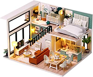 CUTEBEE Dollhouse Miniature with Furniture, DIY Wooden Dollhouse Kit Plus Dust Proof and Music Movement, 1:24 Scale Creative Room Idea(Comfortable Life)