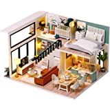 CUTEBEE Dollhouse Miniature with Furniture, DIY Wooden Dollhouse Kit Plus Dust Proof and Music Movement, Creative Room Idea(C