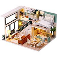 CUTEBEE Dollhouse Miniature with Furniture, DIY Wooden Dollhouse Kit Plus Dust Proof and Music Movement, Creative Room…