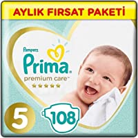 Prima Bebek Bezi Premium Care Junior Aylık Fırsat Paketi, 5 Beden, 108 Adet