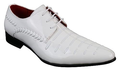 Verni Pu Look À Design Rossellini Chich Décontracté Chaussures Homme Cuir Italien Lacets Blanc wvm8Nn0