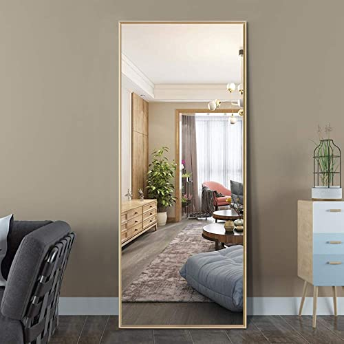 ElevensMirror Full Length Mirror Dressing Mirror 59 x20 Large Rectangle Bedroom Floor Mirror Wall-Mounted Mirror Hanging Leaning Against Wall Gold
