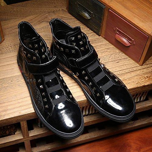 Shukun Herren Stiefel Herrenschuhe High-Top-Schuhe Friseur Persönlichkeit Niet Schuhe erhöht Casual Martin Stiefel High-Top-Schuhe