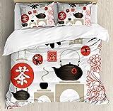 Tea Party Duvet Cover Set King Size by Ambesonne, Japanese Design with Cultural Elements Flowers Fuji Mountain Tea Pot, Decorative 3 Piece Bedding Set with 2 Pillow Shams, Vermilion Black Beige