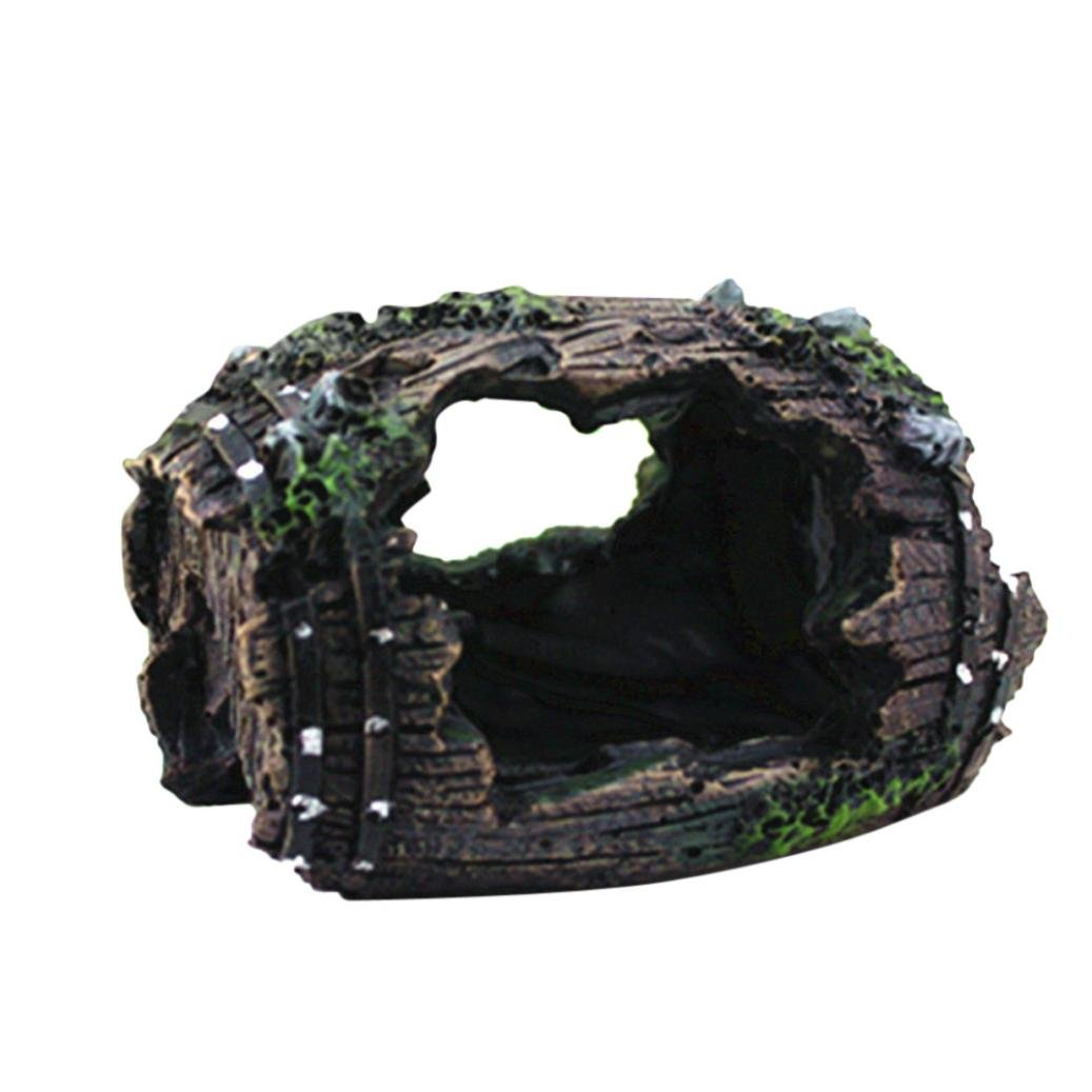 LiPing Polyresin Broken Barrel Aquarium Ornament Fish Tank Landscape Decoration Hiding Caves Decor (Black)