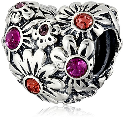 (Chamilia Sterling Silver and Swarovski Crystal Zinnia Heart Bead Charm)