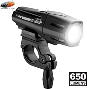 Cygolite Metro Plus– 650 Lumen Bike Light– 4 Night & 3 Daytime Modes– Compact & Durable – IP67 Waterproof– Secured Hard Mount– USB Rechargeable Headlight– for Road, Mountain, Commuter Bicycles