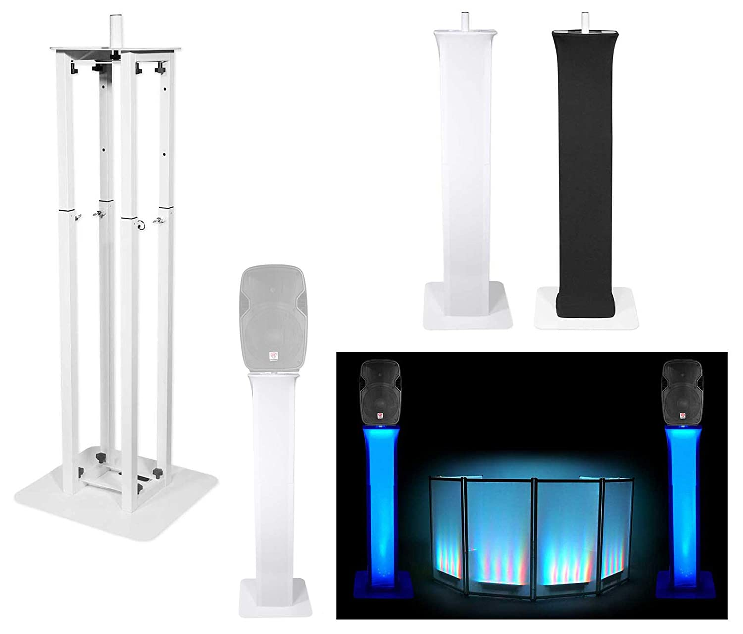 (1) Rockville RTP32W Totem Style DJ Speaker Stand+Black+White Scrims+Carry Bag 61yrxK7koCL