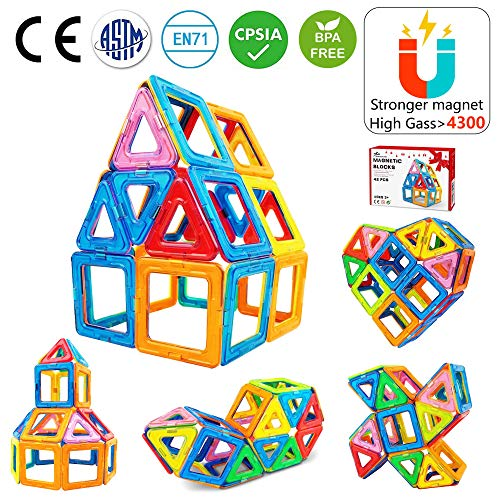(Jasonwell 42 PCS Magnetic Tiles Building Blocks Boys Girls Magnetic Building Set Preschool Educational Construction Kit Magnet Stacking Toys Kids Toddlers Children)