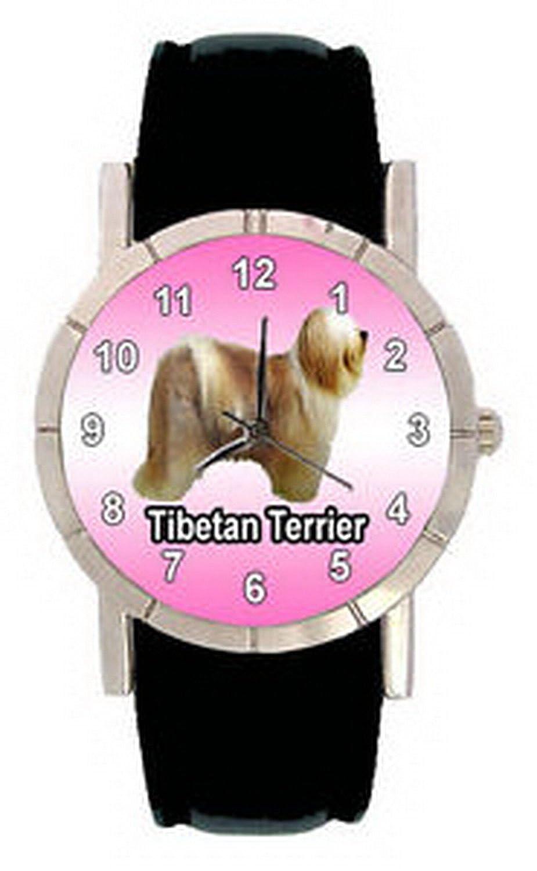 jwl1184 Tibetan Terrierメンズレディース本革クオーツMovement腕時計 B01MXZAN60