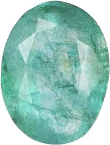 Real Gems Piedra Preciosa de Esmeralda Natural de 14 mm, Esmeralda brasileña de Forma Ovalada, Piedra de Esmeralda Suelta facetada de 7,50 Quilates