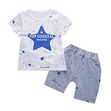 c4fb7cb80117 2 Piece Shorts Set For Toddler Baby Kids Boys Girls Star Print T-Shirt Tops