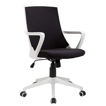 Homcom Fauteuil Chaise De Bureau Ergonomique Grand Confort Pivotant 360 Hauteur Reglable Textilene Noir Blanc