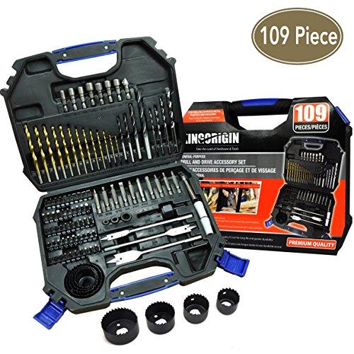 109 piece drill and drive accessory set,drill bits,drill bit set,drill set,drilling driving kit (Drill Bit Kits)