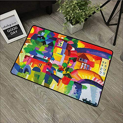 (Bathroom Anti-Slip Door mat W35 x L47 INCH Art,Modern Vivid Abstract Architectural Buildings Urban Apartment Houses Village Landmark, Multicolor Easy to Clean, no Deformation, no Fading Non-Slip Door)