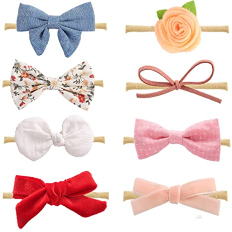 Diademas y cintas de pelo Z-Chen Pack de 6 Piezas Diademas Elásticas Cintas para el Pelo para Bebé Niña
