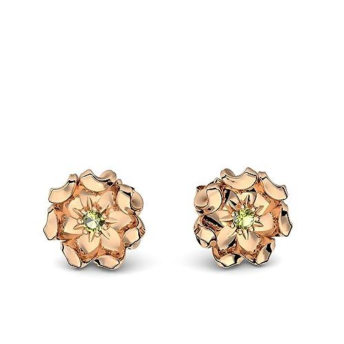 Rose Oro Pendientes y peridoto 585 + Incluye Luxus Funda + y peridoto Pendientes Rose Gold