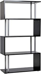 HomCom Modern S-Shaped 5 Tier Room Dividing Bookcase Wooden Storage Display Stand Shelf - Black