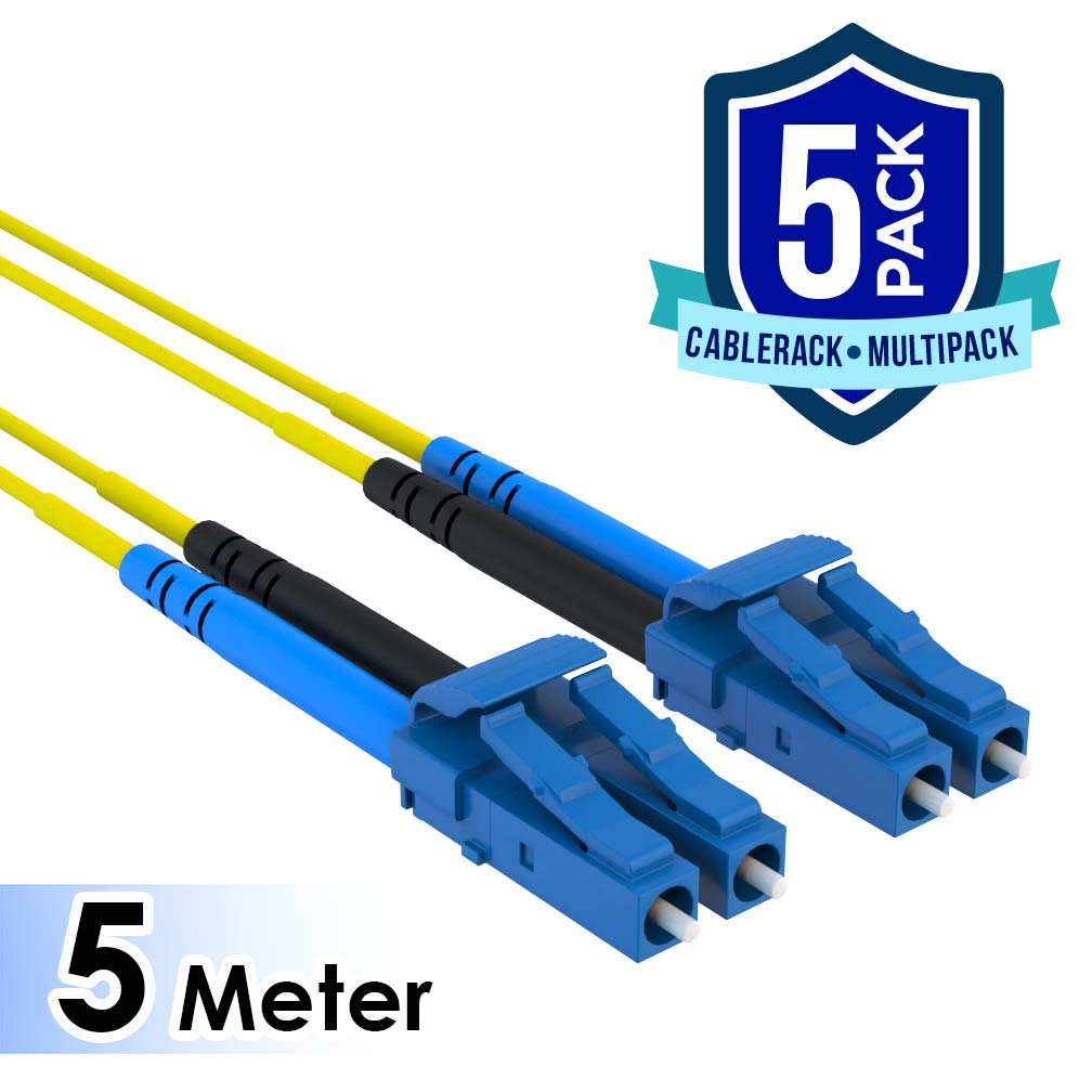 CableRack 5 Meter LC to LC Single Mode Fiber 9/125 Fiber Patch Cable (5-Pack)