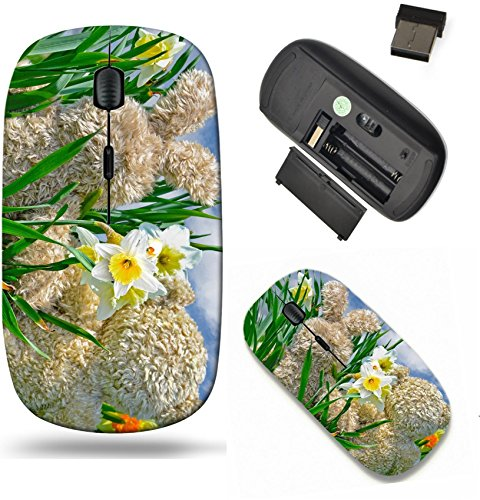 Liili Wireless Mouse Travel 2.4G Wireless Mice with USB Receiver, Click with 1000 DPI for notebook, pc, laptop, computer, mac book teddy bear and bunny in daffodils Photo 19425863 ()