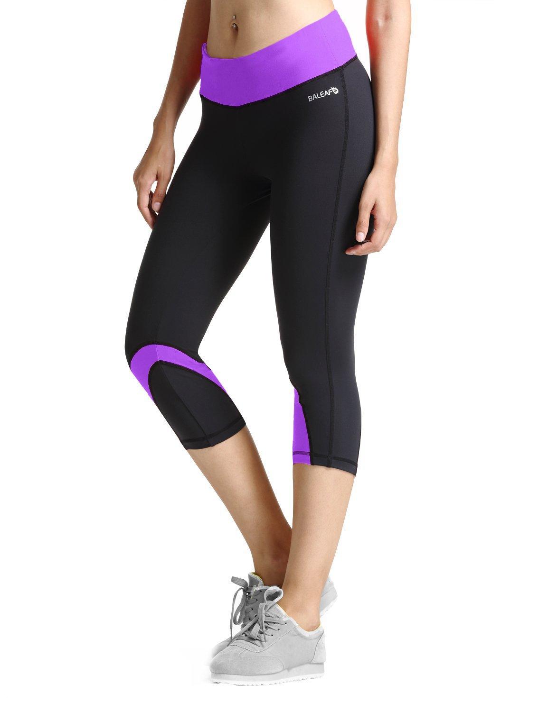 Baleaf Women's Yoga Running Workout Capri Legging
