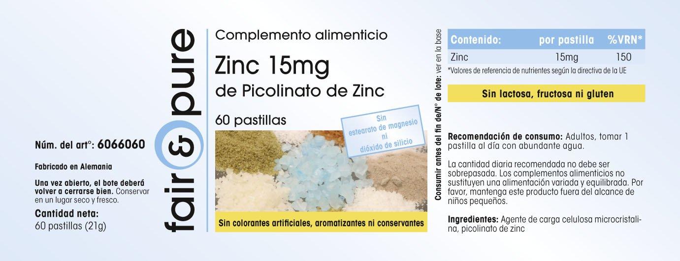 60 comprimidos vegetarianas de Zinc (15 mg) - Procedente del picolinato de Zinc - Sustancia pura y sin aditivos: Amazon.es: Salud y cuidado personal