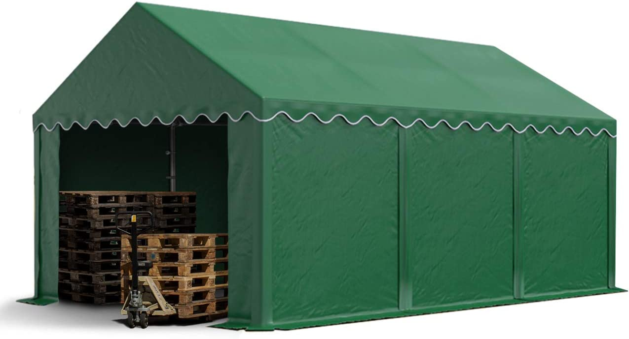 TOOLPORT Carpa de almacén 4x6m Carpa de pastoreo con Aprox. 500g/m² de Lona PVC Impermeable Verde Oscuro