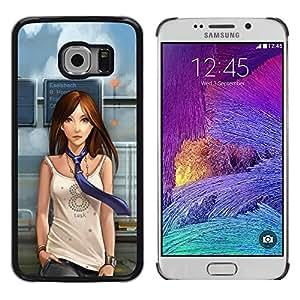 QCASE / Samsung Galaxy S6 EDGE SM-G925 / Mujer lazo muchacha del arte de animación de dibujos animados dibujo / Delgado Negro Plástico caso cubierta Shell Armor Funda Case Cover