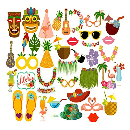 KKONETOY Luau Photo Booth Props Kit,Fiesta Photo Booth Props - 36 Pack Party Camera Props Fully Assembled,Hawaiian Decorations/Tropical/Tiki/Summer Pool Party Decorations Supplies by KKONETOY