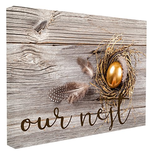 Stupell Home Décor Our Nest Golden Egg Distressed Wood Oversized Stretched Canvas Wall Art, 24 x 1.5 x 30, Proudly Made in USA