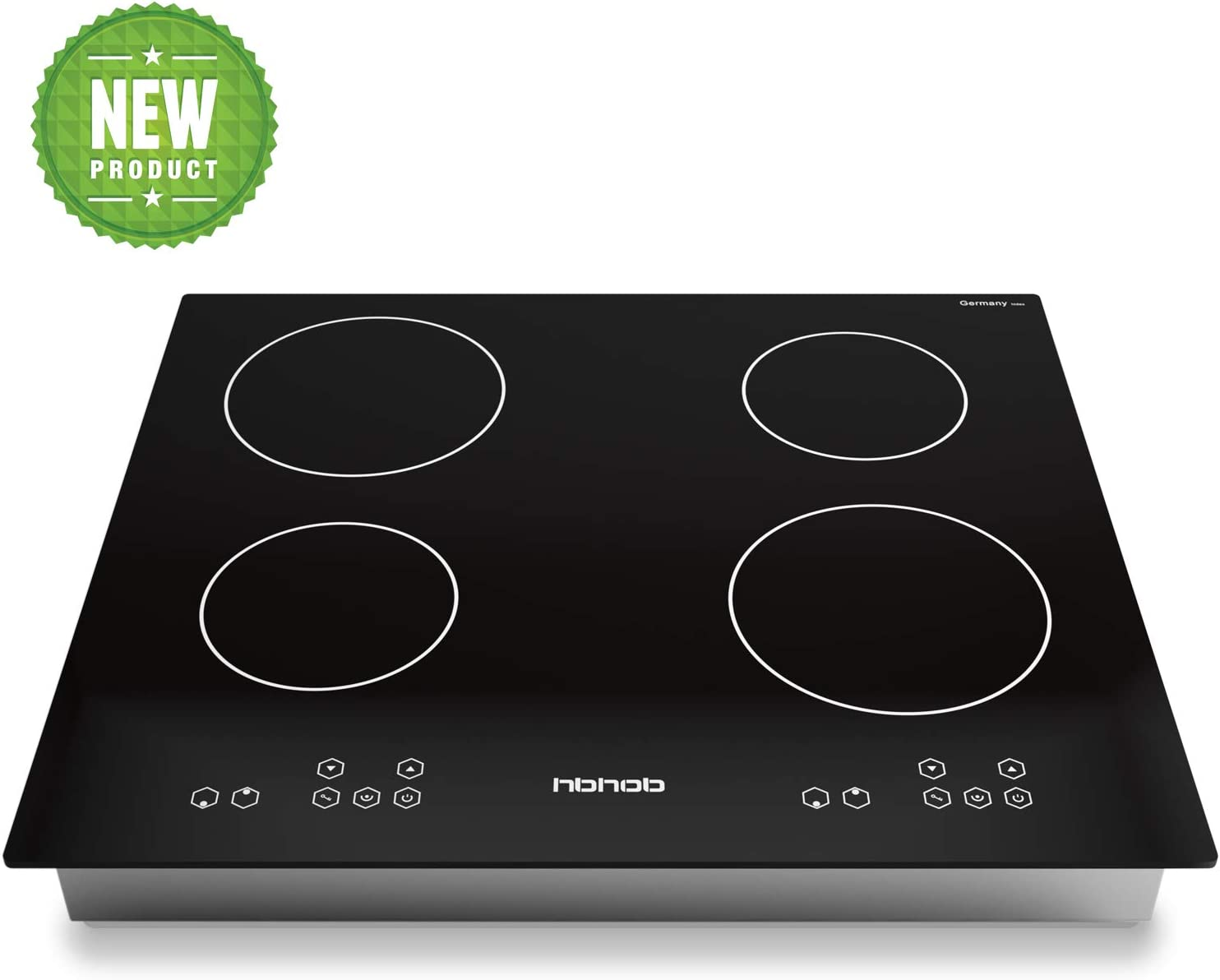 24 Inch Induction Cooktop, Stove Top Electric Cooktop, 4-Burner Electric Induction, Black Vitro Ceramic Smooth Surface Glass Gasland Chef, 220V Electric Induction Cooker, Timer & Safety Lock.