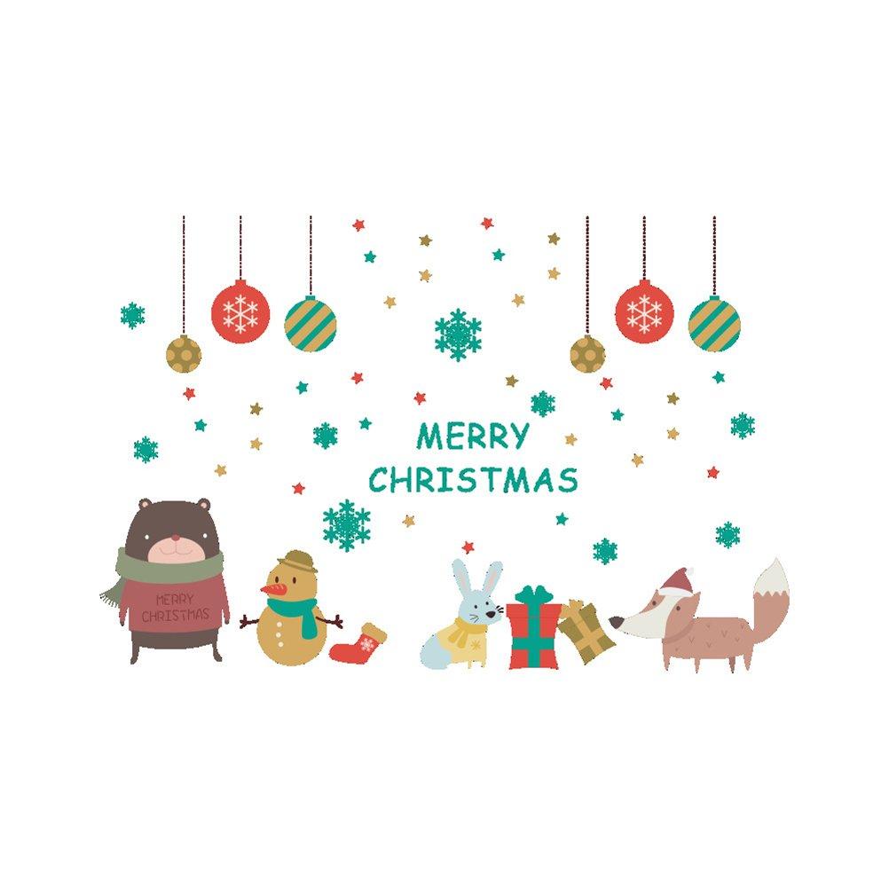 LUOEM Weihnachten Fensterbilder Winter Wandaufkleber Schneeflocke Schneemann Selbstklebend Merry Christmas