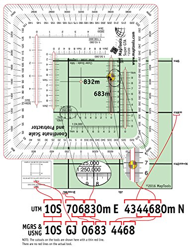 MapTools Improved Military Style MGRS/UTM Coordinate Grid Reader, and Protractor by MapTools (Image #4)