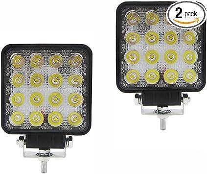 2X48W LED Work Flood Square Spot 12V 24V Off Lights Road Truck 4x4 Boat SUV Lamp